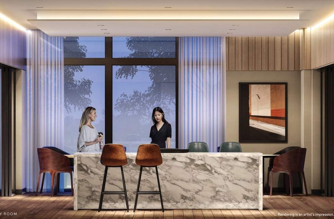Rendering of ELLE Condos party room with island