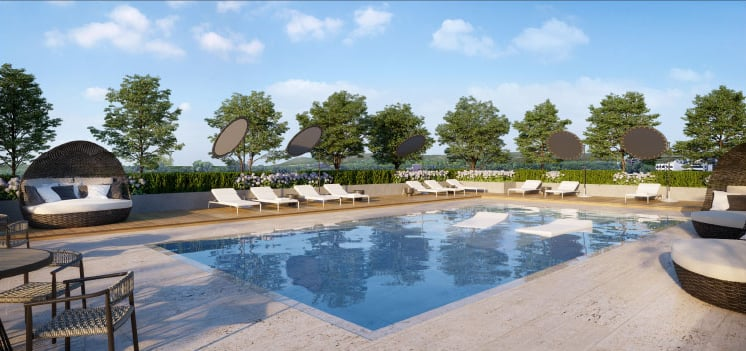 Rendering of The Millhouse Condos outdoor swimming pool