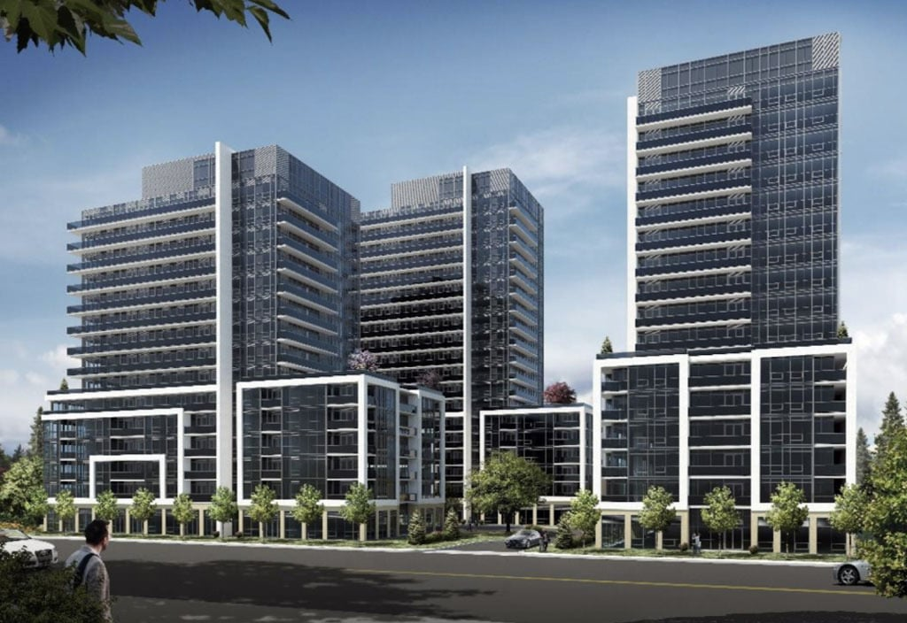 Rendering of The Millhouse Condos 3 towers early design