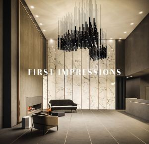 Rendering of The Moderne Condos lobby