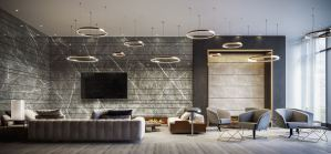 Rendering of The Moderne Condos party room