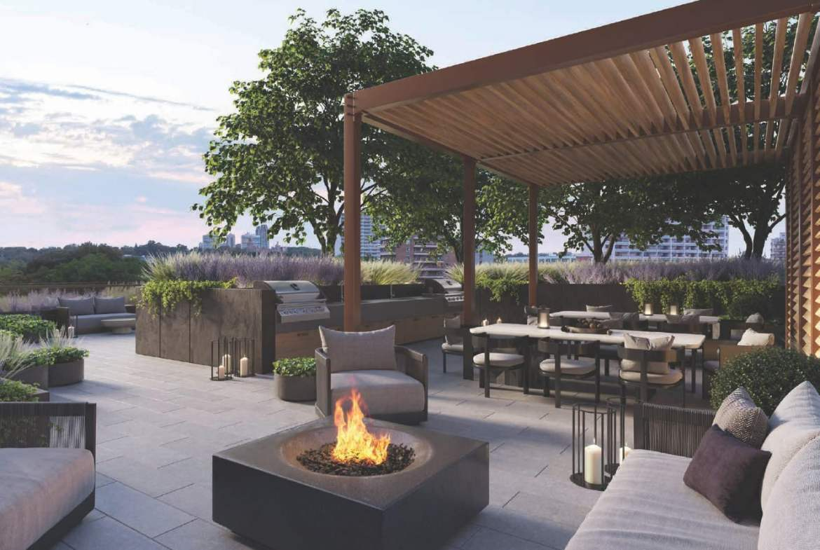 Rendering of Cielo Condos terrace with fire pit
