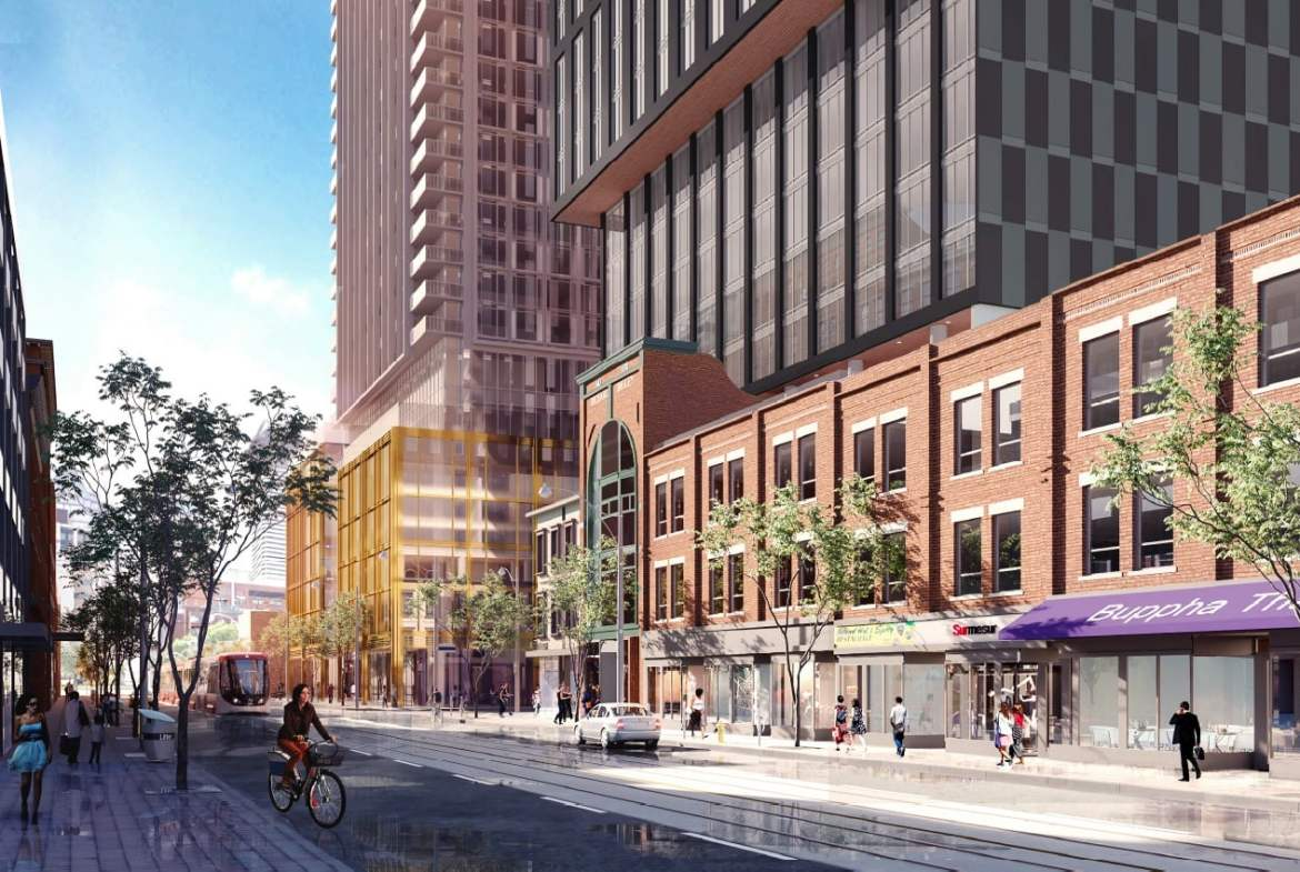 Rendering of Queen Central Condos exterior during the day