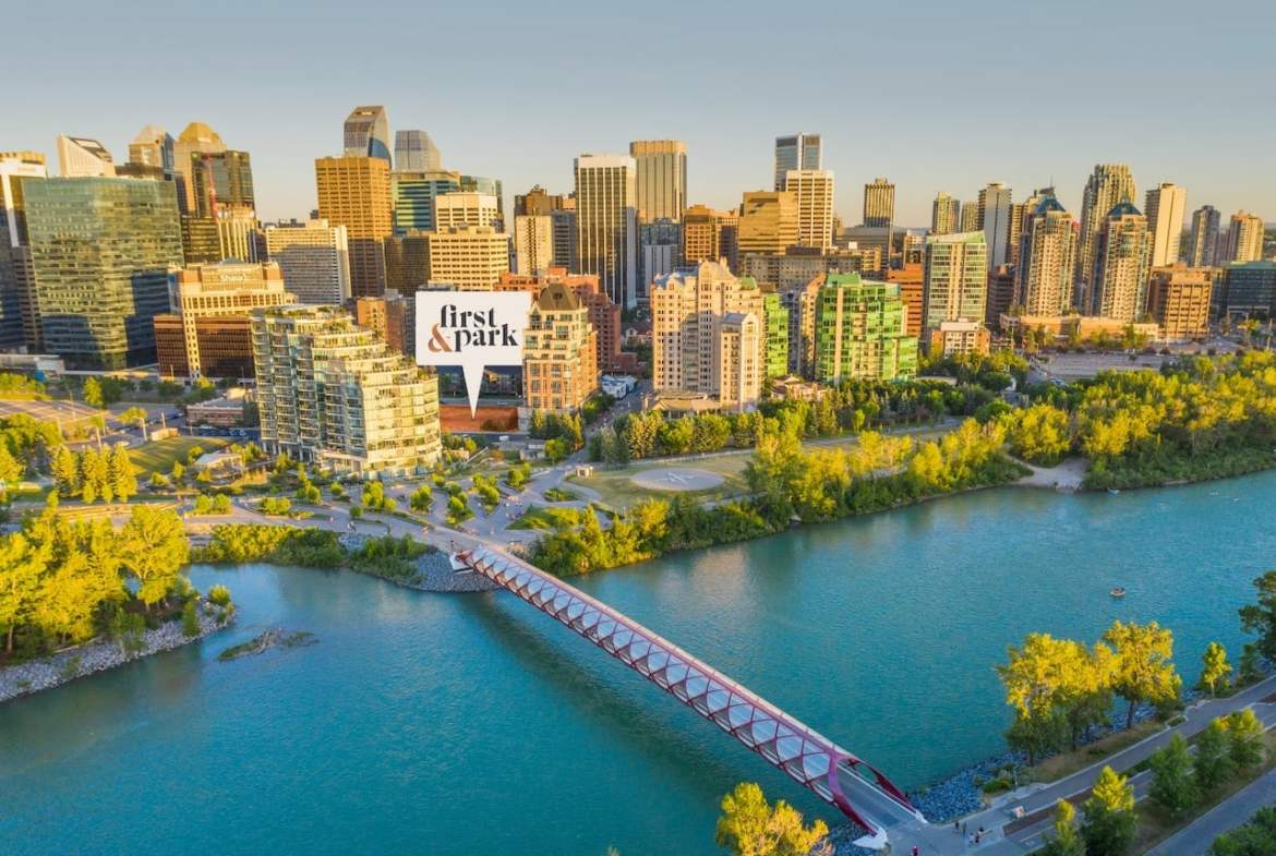Aerial of First & Park Condos location in Calgary by Eau Claire Park