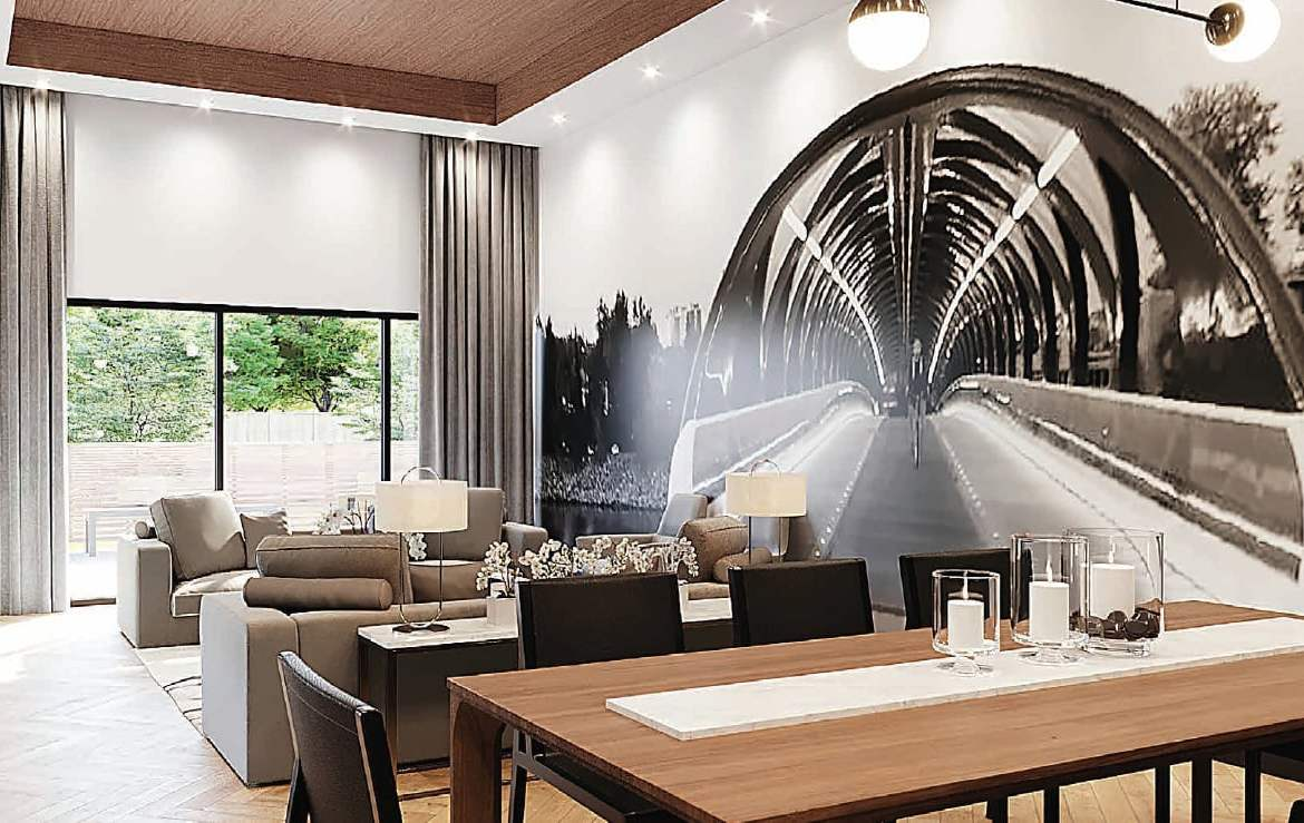 Rendering of First & Park Condos lounge and shared co-working space