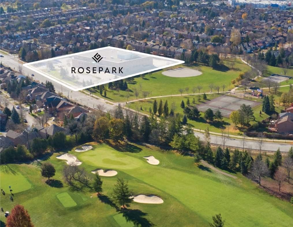 Aerial view of Rosepark Townhomes location in Vaughan