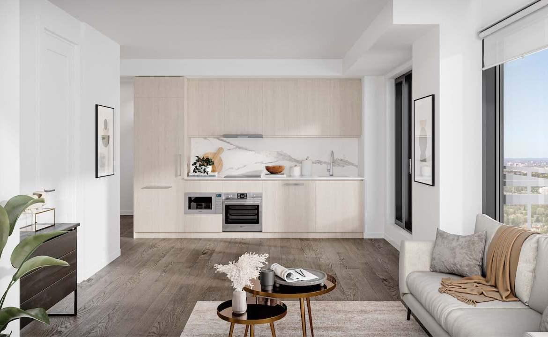 Rendering of M2M Squared Condos suite interior kitchen