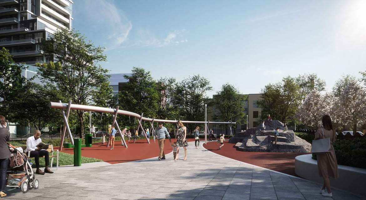 Rendering of M2M Squared Condos public park with walking paths