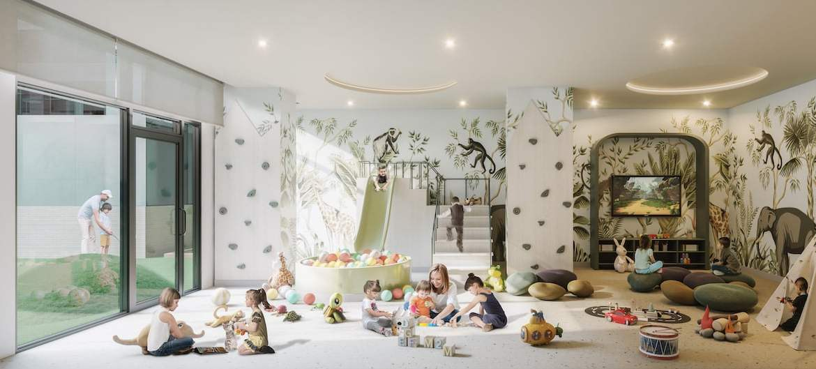 Rendering of M2M Squared Condos kids play room