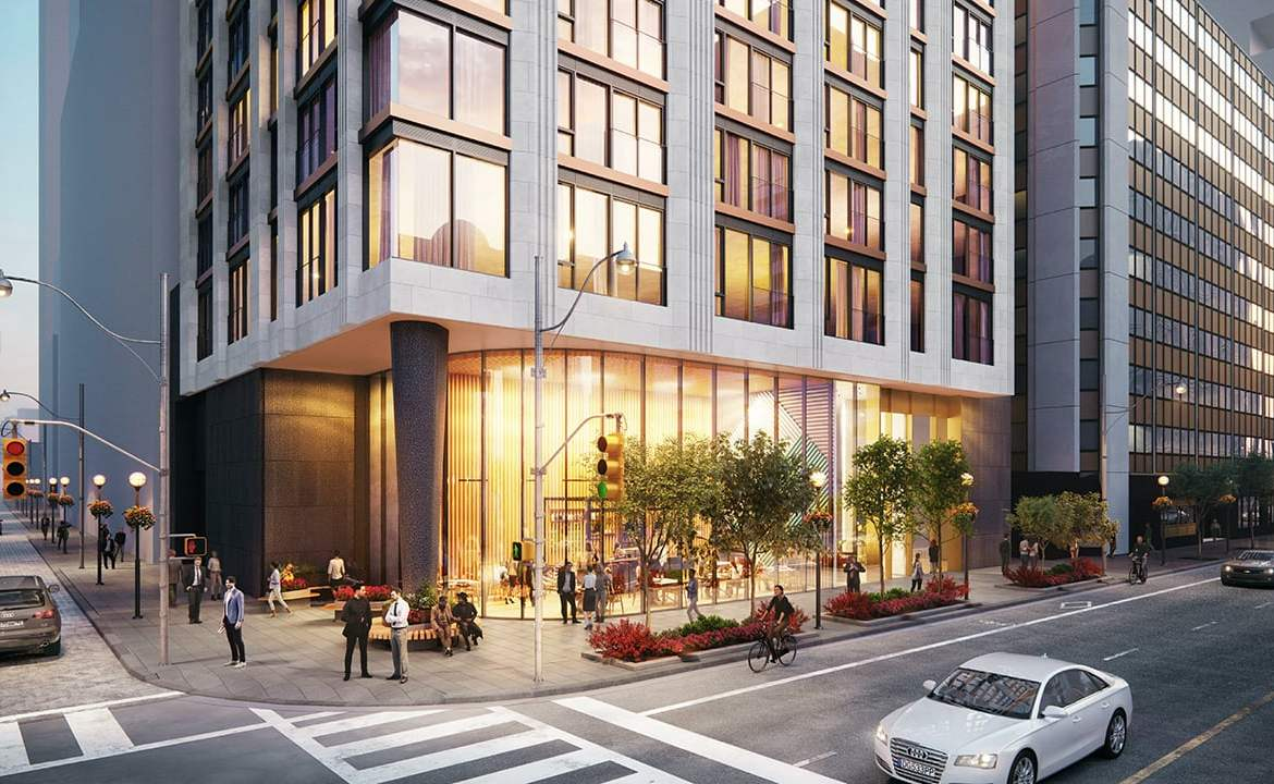 Rendering of 1255 Bay Condos exterior entrance and street view