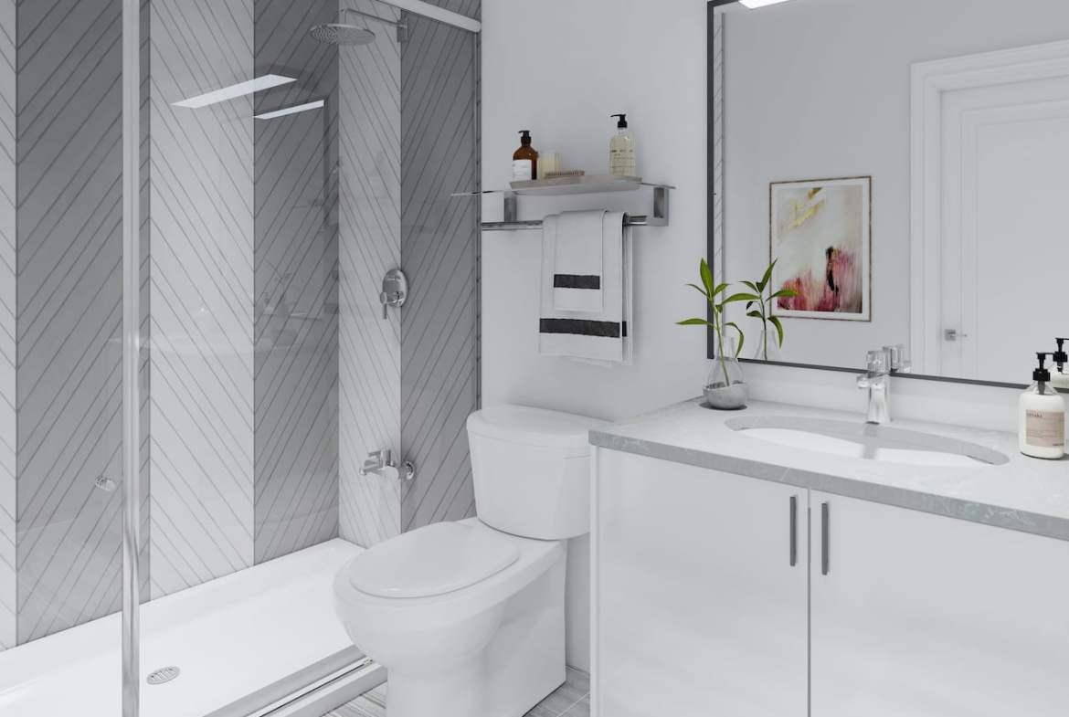 Rendering of Central District Towns suite interior bathroom