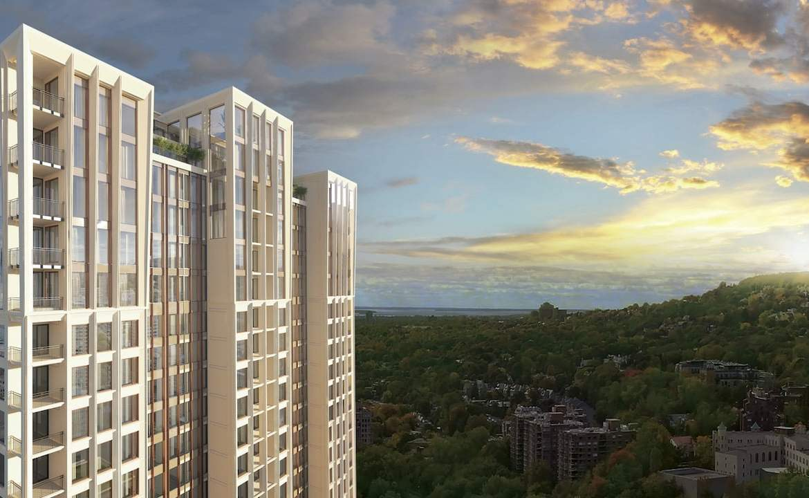 Rendering of Le Sherbrooke Condos exterior with view of surrounding area