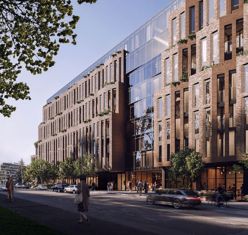 Rendering of Leaside Common Condos exterior with streetscape