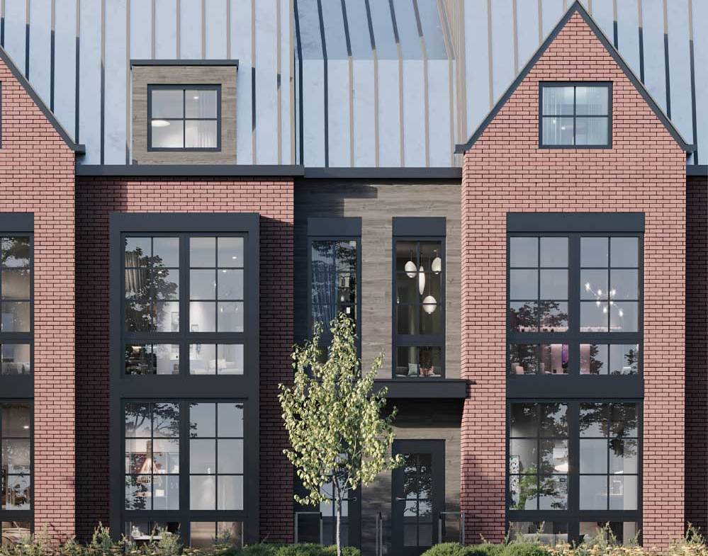 Rendering of Rosepark Townhomes exterior close-up