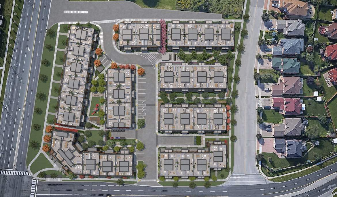 Rendering of The Markdale Towns site plan aerial