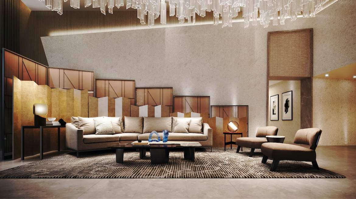 Rendering of Westerly Condos lobby lounge seating