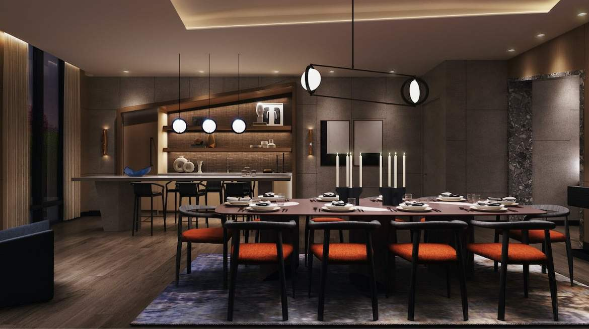 Rendering of Westerly Condos dining and bar party room