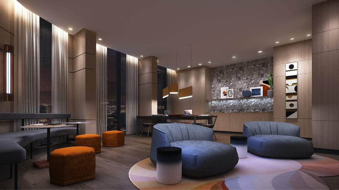 Rendering of Westerly Condos lounge room