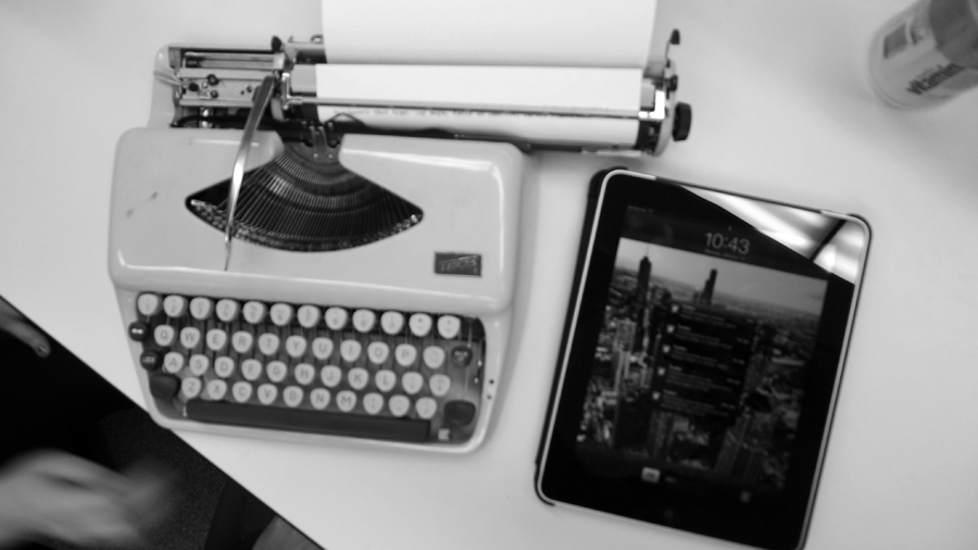 Typewriter and Apple Ipad