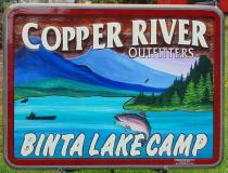 Copper River Outfitters,Binta Lake Camp,Smithers BC,Lanscape painting of mountains and fish on a custom made sandblasted cedar sign,busines sign of all kinds.Condor signs Vernon Bc