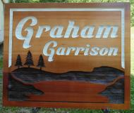 Graham Garrison,residential sandblasted cedar sign,Alberta cedar sign,economical style,Condor Signs Vernon BC,Farm and ranch,Custom made sand blasted sign