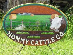 hommy cattle co. sandblasted cedar sign,farm and ranch signs of all kinds,Cattle cows,horses,hereford,aberdeen angus,rodeo stock,you name it we artist paint it.Custom hand crated signs by Condor signs vernon,Kelowna BC
