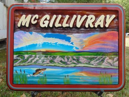 Mc Gillivray,residential sandblasted cedar sign,Recreational Property sign,Palliser Park Sask,Handcrafted by Condor signs Vernon BC,Artist painted,