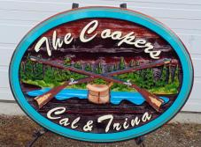 Cedar sign custom nade artist painted cedar sign Kelowna BC