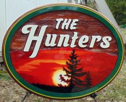 The Hunters,residential sandblasted cedar sign, wedding sign,wedding,gift, Yellowknife,Artist painted cedar sign,Condor Signs,Vernon BC,