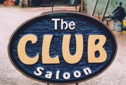 The Club Saloon Silver Star Mountain Resort Vernon BC handcrafted artist painted business sign by condor signs