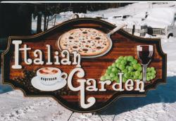 Italian Garden Restaurant Silver Star Mountain Resort Vernon BC,custom cedar sandblasted business sign,Condor Signs