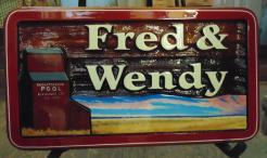Cedar residential house sign Moose Jaw Sask.handcrafted and artist painted signs for any need by Condorsigns Vernon Bc.