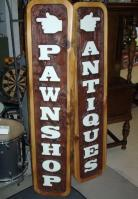 antiques & pawnshop sandblasted sign Vernon BC.Distinictive decor and 30th street pawn