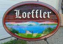 Sand carved, artist painted and handcraft quality Cedar sign by Condor signs Vernon BC For The Loeffler beach house Kamsack Sask.