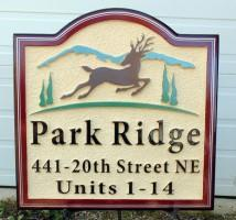 sandblasted high density urethane sign for housing development by condor signs Vernon BC