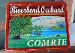 Riverbend Orchard Kamloops BC sanblasted or sand carved custom artist painted cedaar wood sign by Condor Signs Vernon BC.