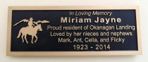 memorial plaque in bronze for a park bench in vernon bc by condor signs/condor systems