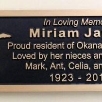 memorial plaque in bronze for a park bench in vernon bc by condor signs/condor systems
