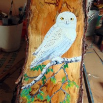 Artist painted snowy owl artist painted by Condor Signs Vernon BC