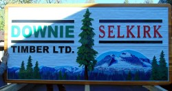 Downie Timber /Selkirk Cedar cedar sand blasted sign.Artist painted custom design and handcrafted by Condor Systems/signs Vernon BC