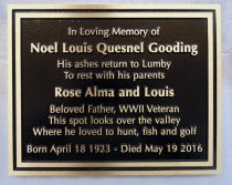 metal/bronze headstone/memorial plaque for Noel Gooding cutom designed by Condor Signs Vernon BC