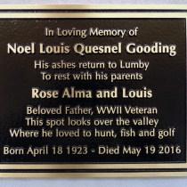 metal/bronze headstone/memorial plaque for Noel Gooding cutom designed by Condor Signs Vernon BC