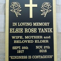 metal headstone/memorial plaque in cast bronze for Elsie Rose Yanik first nation elder Fort Mac Murray by Vernon BC. sign makers Condor Signs