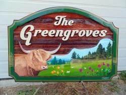 farm signs Canada THe Greengroves wood sign sandblasted cedar by Vernon BC sign maker Condor Signs