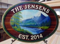 Wedding sign for the Jensens Kamloops BC artist painted sandblasted cedar sign by Condor signs Vernon BC
