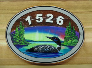 Waskesiu cottage sign made from sandblasted cedar and artist painted by Condor Systems/Signs Vernon BC Canada