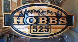 Wood farm aceage sign for Vernon BC family named Hobbs custom crafted by Condor signs Vernon BC