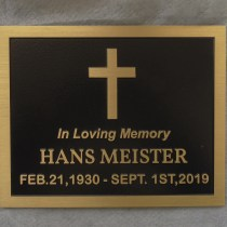 Grave marker in cast bronze supplied by Condor Signs Vernon BC
