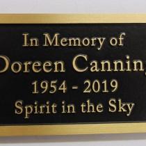 Bronze metal grave marker bench memorial plaque by Condor signs Vernon BC.