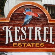 Kestrel Estates A new sign to repace the original.Wood sign restrion and rebuilds by Condor Signs Vernon BC